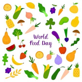 Dia mundial da alimentação com elementos coloridos de frutas, carnes e legumes