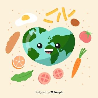 Dia mundial da alimentação com terra em design plano