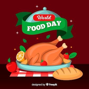 Dia mundial da alimentação com vista frontal frango recheado