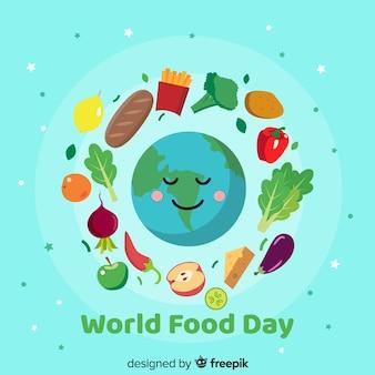 Dia mundial da alimentação em design plano