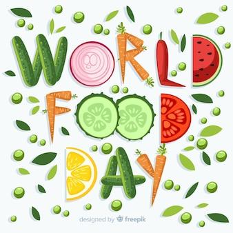 Dia mundial da alimentação escrito com vegetais