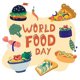 Dia mundial da alimentação. variedade de alimentos nutritivos. pizza, hambúrguer, cachorro-quente, macarrão chinês, sushi e vegetais. comida deliciosa e saudável. ilustração em vetor plana dos desenhos animados isolada no fundo branco.