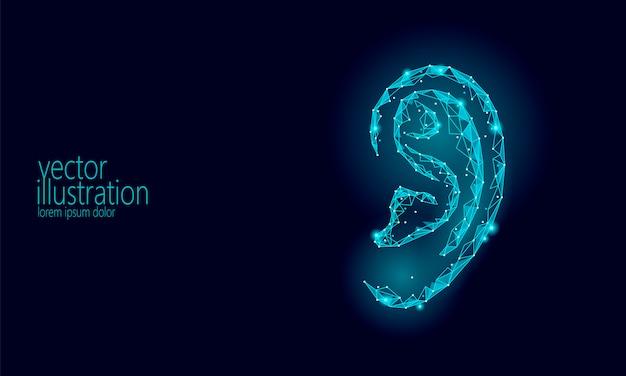Dia mundial da audição surda, órgão de ouvido humano low poly