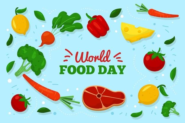 Dia mundial da comida com ilustrações de alimentos