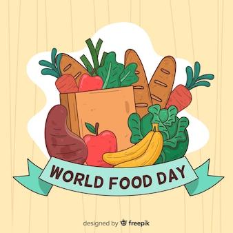 Dia mundial da comida desenhada de mão