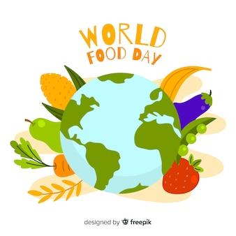 Dia mundial da comida design plano com lareira