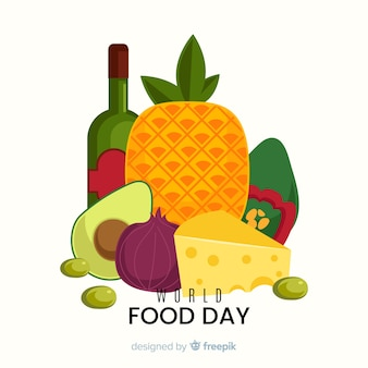 Dia mundial da comida design plano e uma garrafa de vinho