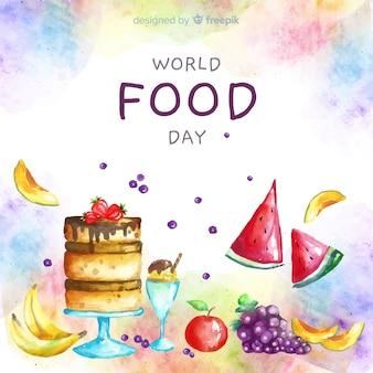 Dia mundial da comida em aquarela com bolo