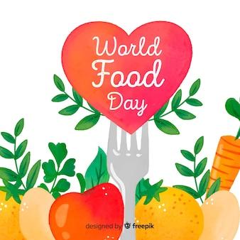 Dia mundial da comida em aquarela com coração e garfo