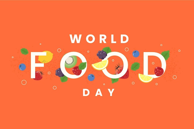 Dia mundial da comida em fundo laranja