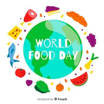 Dia mundial da comida estilo mão desenhada