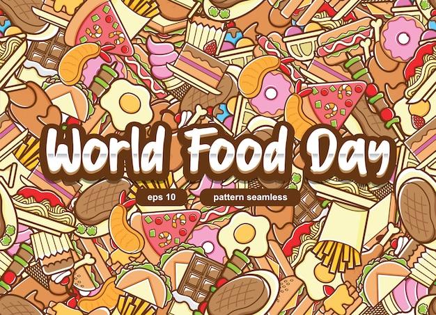 Dia mundial da comida feliz com letras backgound
