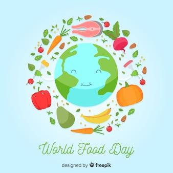Dia mundial da comida plana com feliz planeta terra