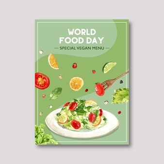 Dia mundial da comida poster com salada, tomate, limão, limão, hortelã ilustração em aquarela.