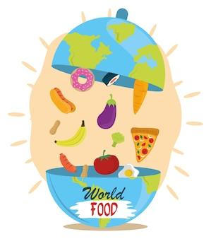Dia mundial da comida, prato cloche em forma de terra com produtos, estilo de vida saudável.