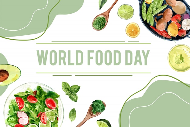 Dia mundial da comida quadro com ervilhas, abacate, manjericão, ilustração em aquarela de pepino.