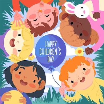 Dia mundial da criança desenhado à mão
