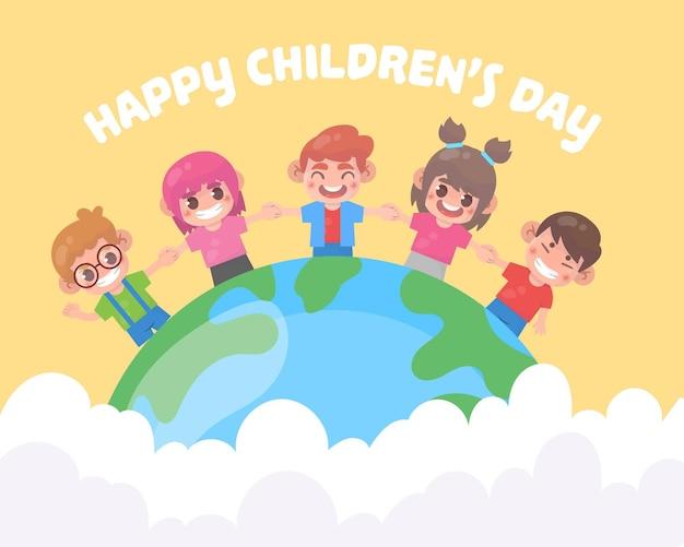 Dia mundial da criança Vetor Premium