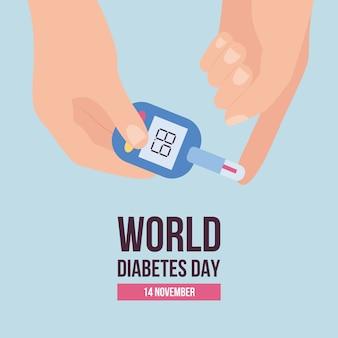 Dia mundial da diabetes em novembro modelo de banner ou cartaz com ilustração de medidor de glicose em fundo azul. conscientização sobre a doença diabética e apoio aos pacientes.