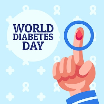 Dia mundial da diabetes ilustrado em design plano