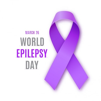 Dia mundial da epilepsia. símbolo de fita roxa.