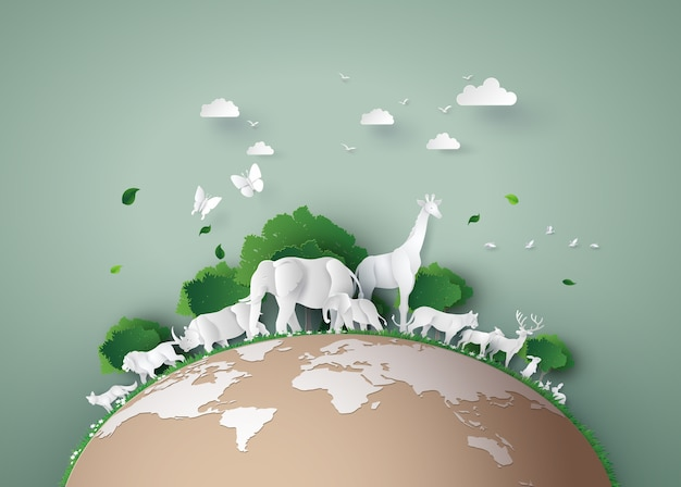 Dia mundial da fauna com o animal na floresta, arte de papel e estilo de artesanato digital.