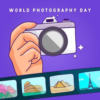 Dia mundial da fotografia com câmera e filme
