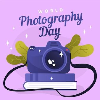 Dia mundial da fotografia com câmera e folhagem