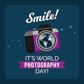 Dia mundial da fotografia com câmera e mensagem