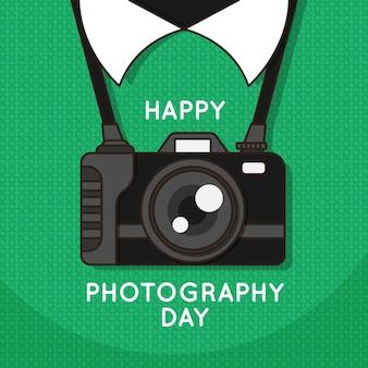 Dia mundial da fotografia com câmera e saudação
