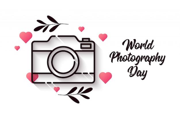 Dia mundial da fotografia com elemento coração