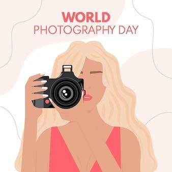 Dia mundial da fotografia com fotógrafo feminino