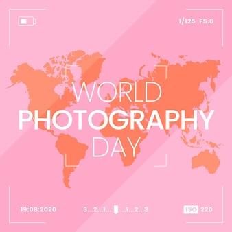 Dia mundial da fotografia com mapa-múndi