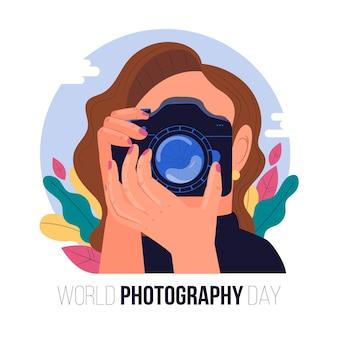 Dia mundial da fotografia com mulher tirando uma foto