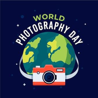 Dia mundial da fotografia com o planeta