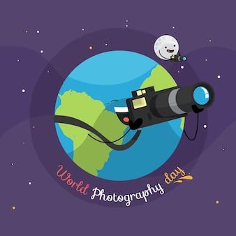 Dia mundial da fotografia com terra e câmera