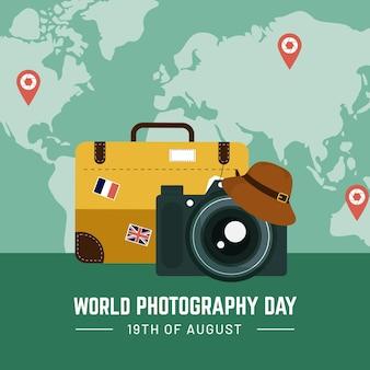 Dia mundial da fotografia em design plano