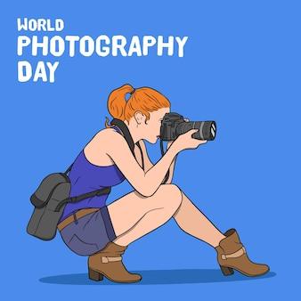 Dia mundial da fotografia estilo mão desenhada