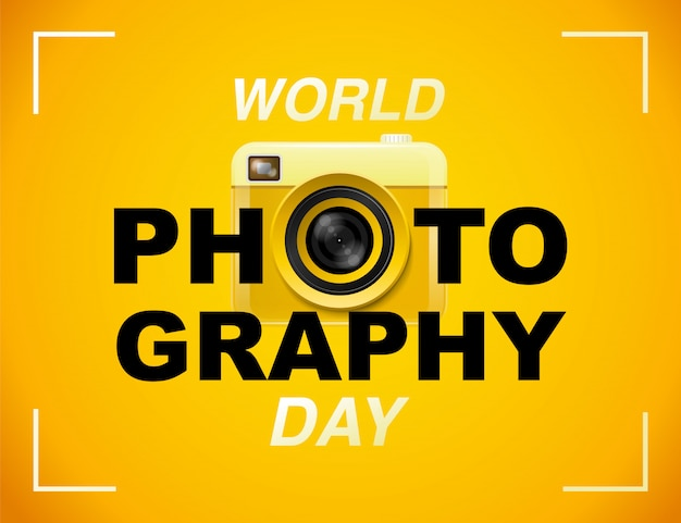 Dia mundial da fotografia, evento, banner, logotipo, tipografia.
