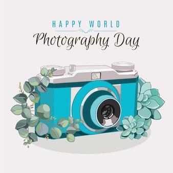Dia mundial da fotografia mão desenhada design