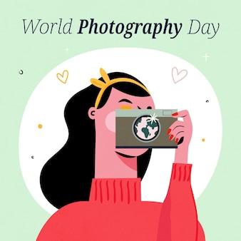 Dia mundial da fotografia mão desenhado design
