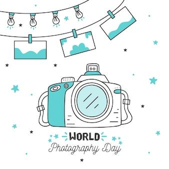 Dia mundial da fotografia mão estilo desenhado