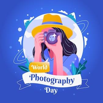 Dia mundial da fotografia mulher com câmera
