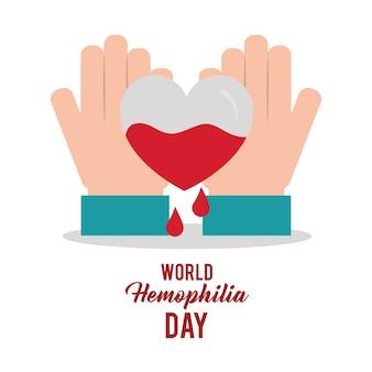 Dia mundial da hemofilia mãos com sangue cardíaco