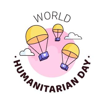 Dia mundial da humanidade - 19 de agosto - modelo de banner quadrado. pára-quedas entregando caixas com ajuda humanitária através das nuvens. reconhecendo as pessoas que trabalham e perderam a vida por causas humanitárias.