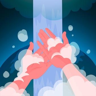 Dia mundial da lavagem das mãos com as mãos e sabonete