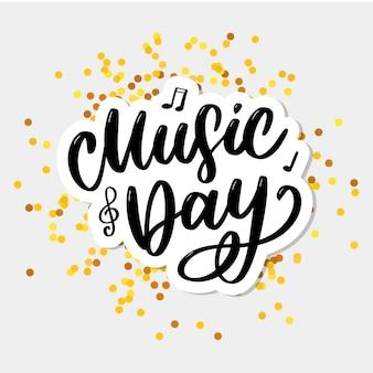 Dia mundial da música letras férias de logotipo de pincel de caligrafia