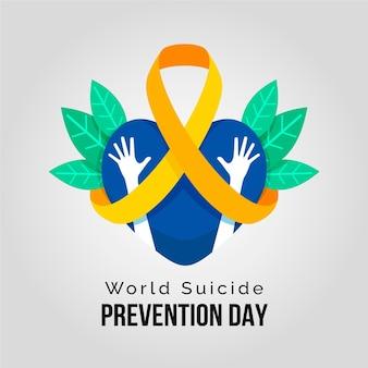 Dia mundial da prevenção do suicídio com o coração e as mãos