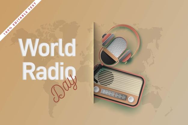 Dia mundial da rádio. corte de papel