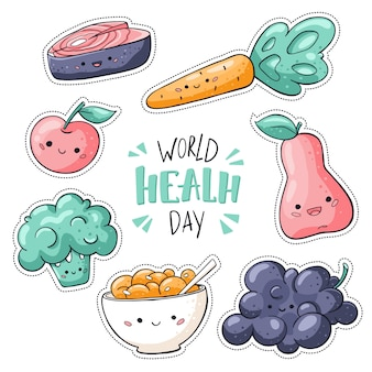 Dia mundial da saúde adesivos embalar em branco